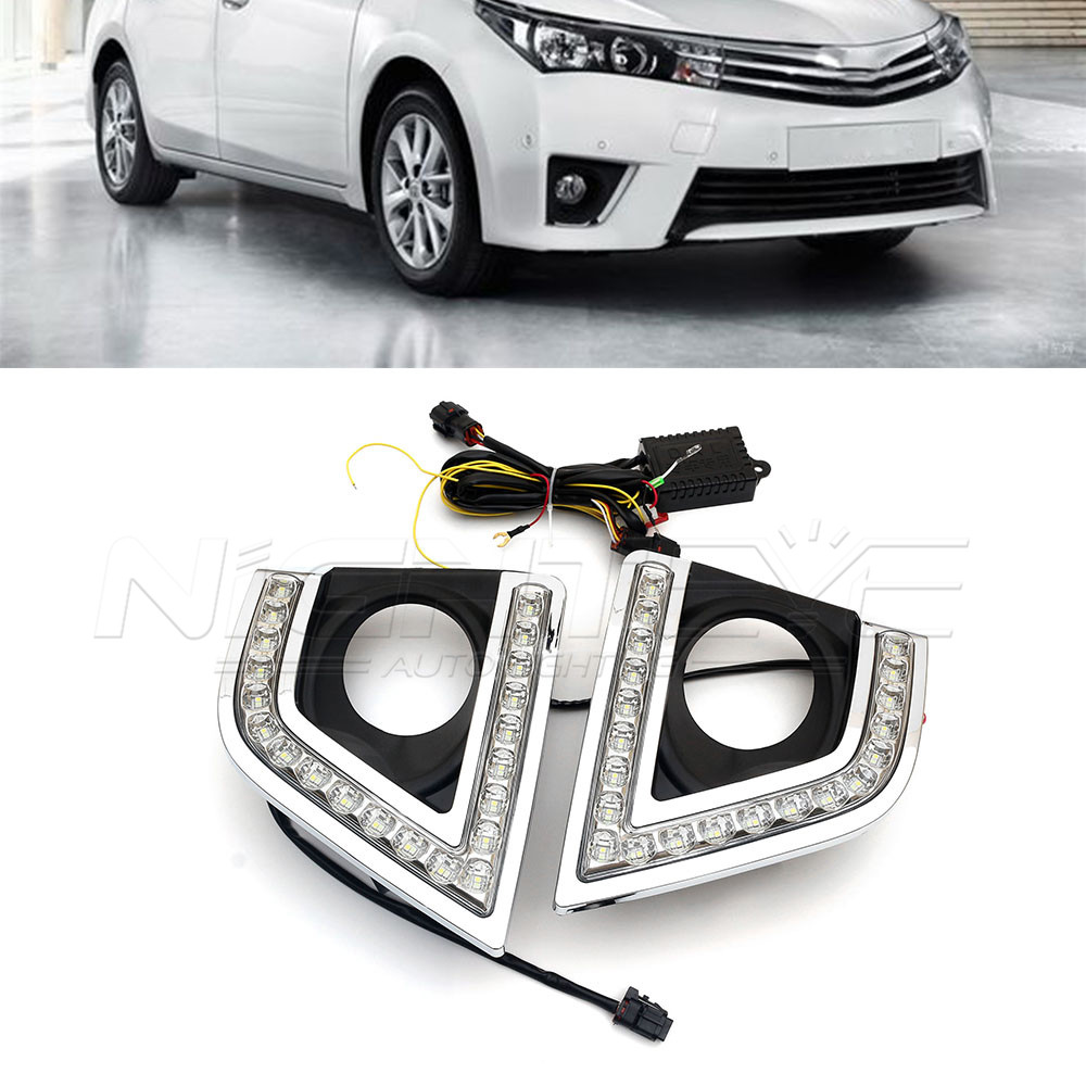 For TOYOTA COROLLA 2014-2017 Car-special LED Daytime Running Light Fog Lamp Cover DRL with Turn Signal Yellow D15 new halogen fog light lamp with wires and button for toyota corolla 2014 altis