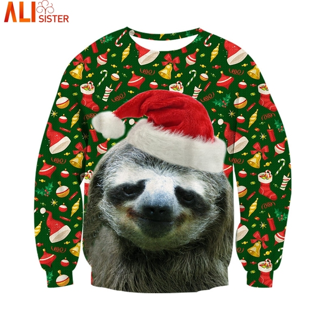 Christmas Sloth 3d Hoodie Sweatshirt Cute Animal Print Pullover EUR Size Alisister Harajuku Hooded Hip Hop Unisex Tops Dropship