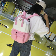 Cute Panelled Canvas Pink backpack women Fashionable Female teenager students' schoolbags shoulder bag Girls travel backpacks jianxiu women female backpack girls schoolbags canvas graffiti backpacks bag dots print travel student bags big capacity
