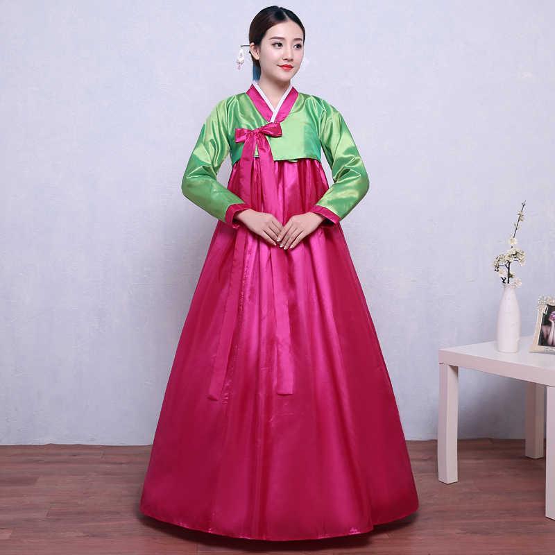 Высокое качество Многоцветный Традиционный корейский Костюм-ханбок платье женский корейский народный танцевальный сценический костюм корейский традиционный костюм вечерние