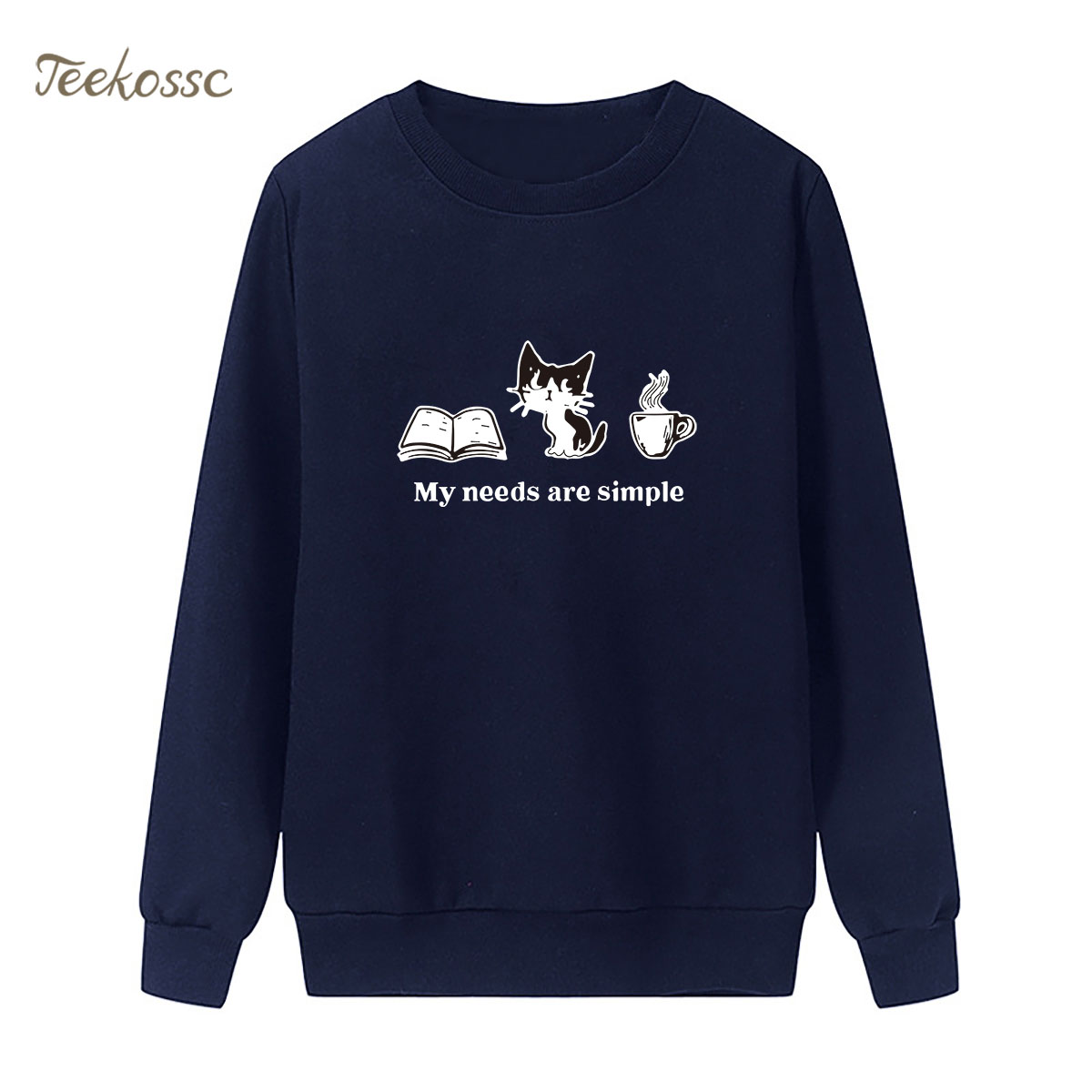 My needs are simple Sweatshirt Book Cat Coffe Hoodie 2018 Winter Autumn Women Lasdies Pullover Fleece Loose Hipster Streetwear