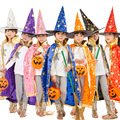 Boy Girl Kids Children Halloween Costumes Witch Wizard Cloak Gown Robe and Hat Cap Stars Fancy Cosplay for Children Boys Girls