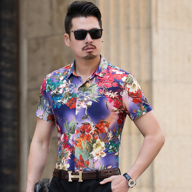 d9cc40001 Plus Size Shirt Men Fashion 2018 Summer Slim Fit Elastic Mens Floral Shirts  Short Sleeve Casual Business Loose Social Shirt Male