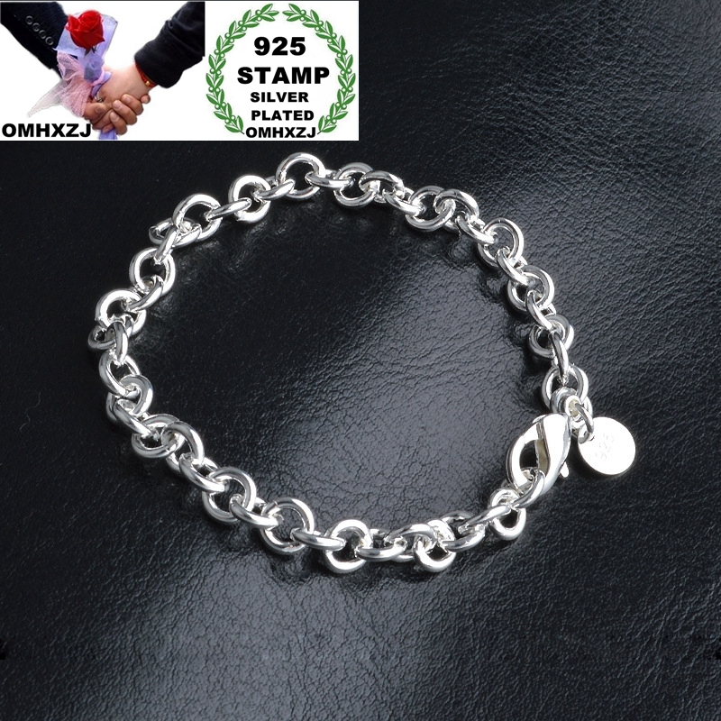 OMHXZJ Wholesale Personality Fashion OL Woman Girl Party Gift Silver Circle Chain Thick 925 Sterling Silver Stamp Bracelet BR109