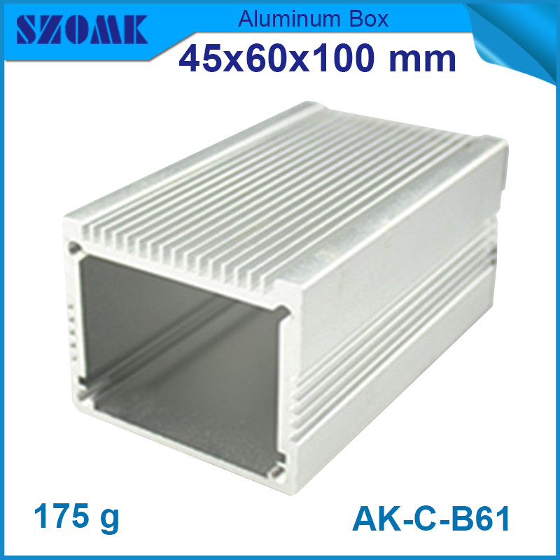 10pcs lot heatsink aluminum housing enclosure silver extrusion cabinet for electronics 45 60 100mm
