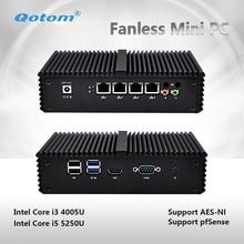 QOTOM Q355G4 2017 New fanless X86 4 LAN Micro Computer I5 5250U Dual core onboard support