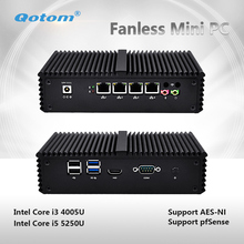 QOTOM-Q355G4 2017 New fanless X86 4 LAN Micro Computer I5 5250U Dual core onboard.support AES-NI.1080P HD Video
