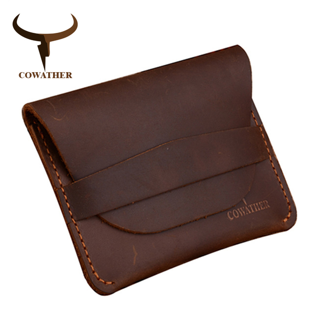 COWATHER 100% top quality Crazy horse genuine leather credit card holder for men new wallet for crads and coin 109 free shipping