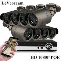 Full HD 1080 P 8 канальный видеонаблюдения Системы 2MP металл открытый IP Камера 1080 P H.265 POE NVR комплект видеонаблюдения HDMI P2P почтовое аварийное xmeye