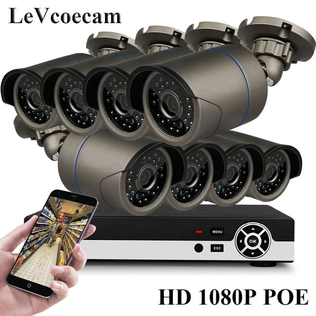 Full HD 1080P 8Channel CCTV System 2MP Metal Outdoor IP Camera 1080P H.265 POE NVR CCTV Kit HDMI P2P Email Alarm xmeye