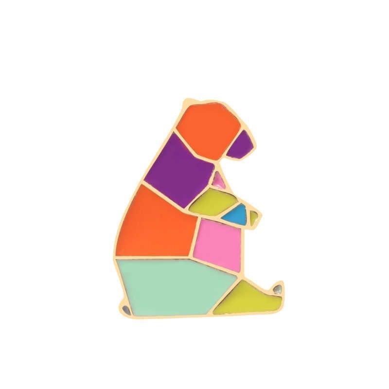 Nieuwe Origami Konijn Vos Kat Paard Zwaan Walvis Beer Eekhoorn Pinguïn Olifant Emaille Pin Metalen Dier Broche Denim Kraag Zak badge