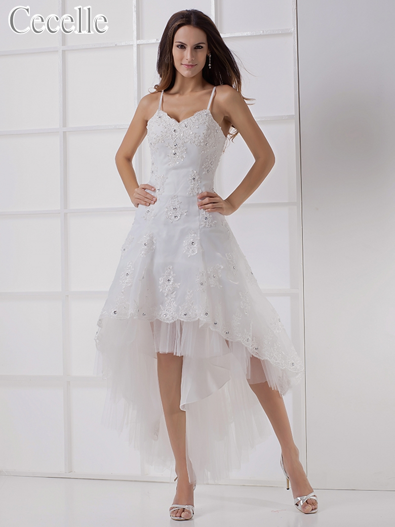 Wedding Dresses 2019 Real High Low Short Wedding Dresses With Straps Beaded Lace Appliques Short Front Long Back Sexy Informal Reception Dress