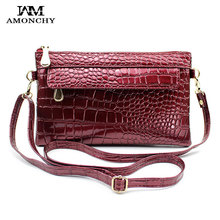 AMONCHY Brand Alligator Women Messenger Bags Fashion Patent Leather Ladies Clutches Crocodile Crossbody Bag Party Clutch Purses fashion two way designer genuine alligator skin ladies women pink day clutches exotic crocodile leather wristlets card case bag