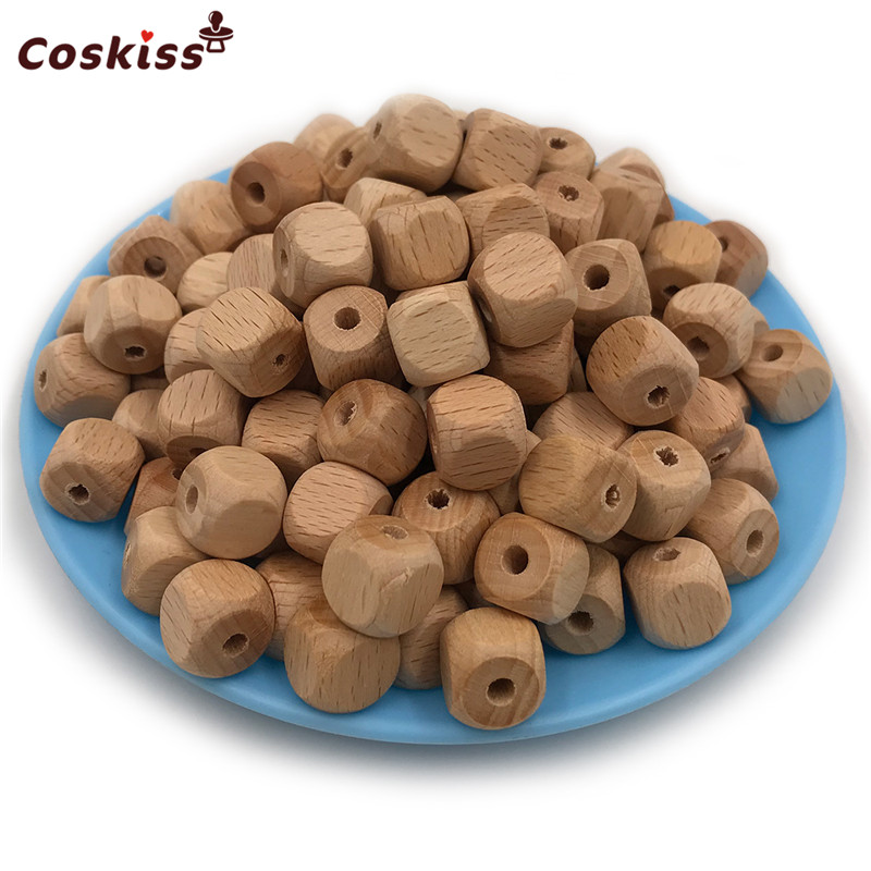 100pcs High Quality Faceted Beech Wood Bead, 12mm Unfinished Natural Figure Quartet Wooden Cube Beads For DIY Nursing Teether