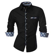 Sportrendy Men's Shirt Dress Casual Long Sleeve Slim Fit Fashion Dragon Stylish JZS071 Black цена 2017