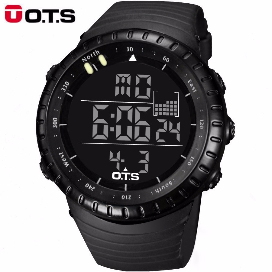 OTS Outdoor Waterproof Large Dial Sports Digital Watches Men S Fashion 50M Professional Swimming Luminous LED