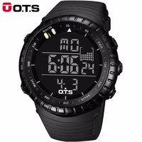OTS Cool Watch Men's Watch Electronic Digital Large Dial Sports Student Watch LED Display Multifunction Military Luminous Watch