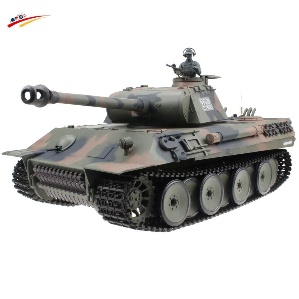 Фото HengLong RC Tank German Panther 2.4G  Armored Vehicle Remote Control Battle Tank Airsoft Smok&Sound Effect Electronic Model Toy