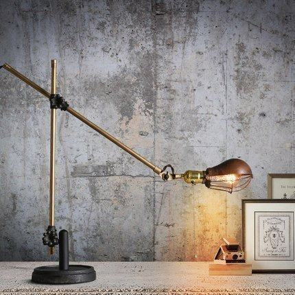 Vintage Novelty Plated Foldable Desk Lamp Retro Loft LED Table Light Lamparas De Reading Room Iron Lighting Abajur Luminaria E27 são paulo santos