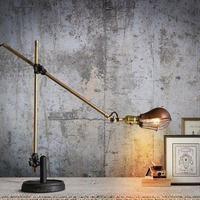 Vintage Novelty Plated Foldable Desk Lamp Retro Loft LED Table Light Lamparas De Reading Room Iron Lighting Abajur Luminaria E27