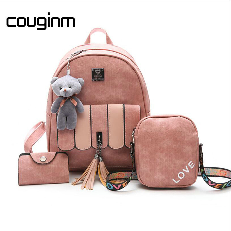 0eab48178052 Best buy COUGINM Backpack Women Composite Backpack High Quality Pu Leather  Tassel School Bags For Teenage Girls Fashion Shoulder Rucksack online cheap