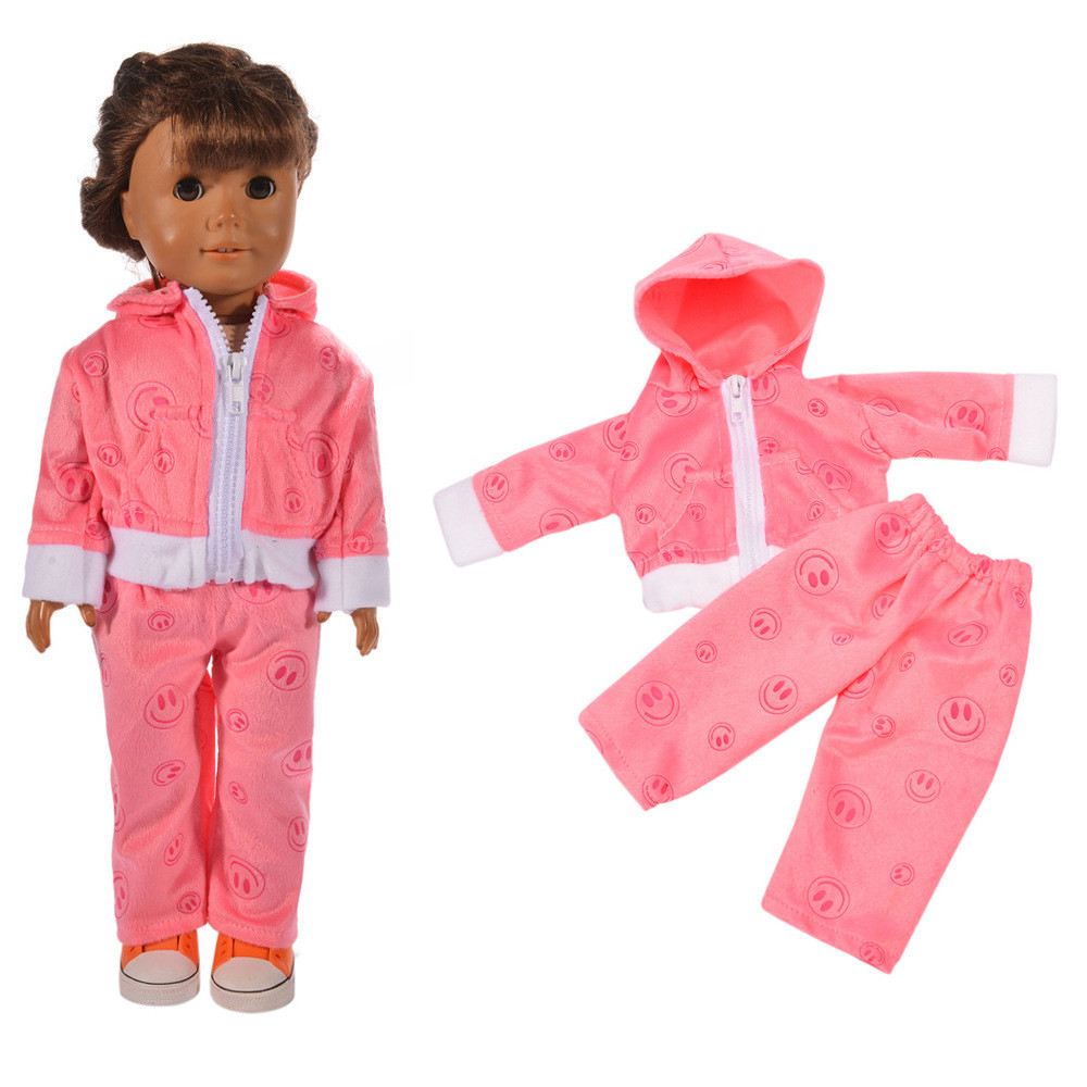 Pink Velour Zippered Jogging Sports Suit For 18 inch Our Generation American Girl Doll Clothing Kids Dolls Accessories JA19a