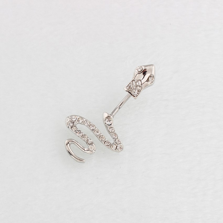 HTB1fnt.LpXXXXbjXpXXq6xXFXXXM Sterling Silver Belly Button Crystal Encrusted Serpent Ring For Women