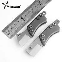 KKWOLF D2 Steel Tactical Pocket Knife CNC CT 4 Gray Titanium Handle Camping Karambit Knife EDC