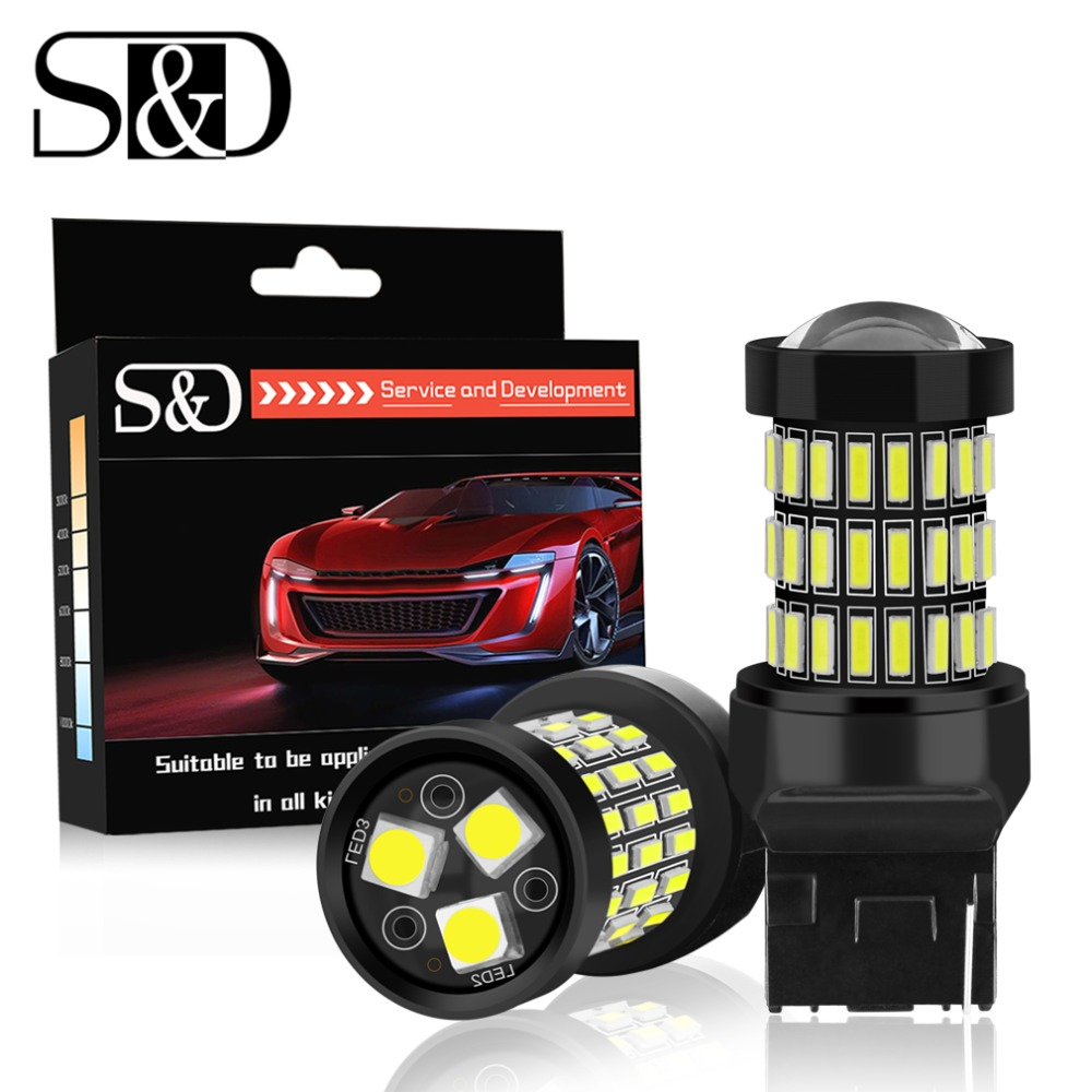 S&D 2pcs T20 7440 W21W WY21W LED 7443 SRCK W21/5W LED Bulbs 12V Car Lights Turn Signal Brake Reverse Tail Lamp Auto 1200LM 2pcs t20 30w 7440 7443 5630 5730 smd 33 led car turn signal brake light parking lights auto fog lamps white 6500k dc12v