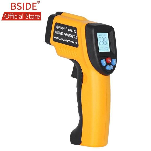 BSIDE GM320 ללא מגע דיגיטלי לייזר אינפרא אדום מדחום LCD תצוגת C/F בחירת טמפרטורת IR בודק עם 4 כפתור