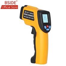 BSIDE GM320 عدم الاتصال الرقمية ليزر الأشعة تحت الحمراء ميزان الحرارة شاشة الكريستال السائل C/F اختيار IR مقياس الحرارة تستر مع 4 زر