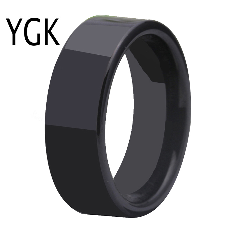 Free Shipping Hot Sales 8MM Width Shiny Black Pipe Custom Ring Blank Ring New Men's Fashion Tungsten Wedding Ring цена