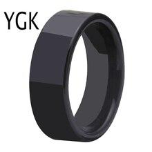 Ücretsiz kargo sıcak satış 8MM genişlik parlak siyah boru yüzük konfor Fit boş halka yeni erkek moda Tungsten alyans