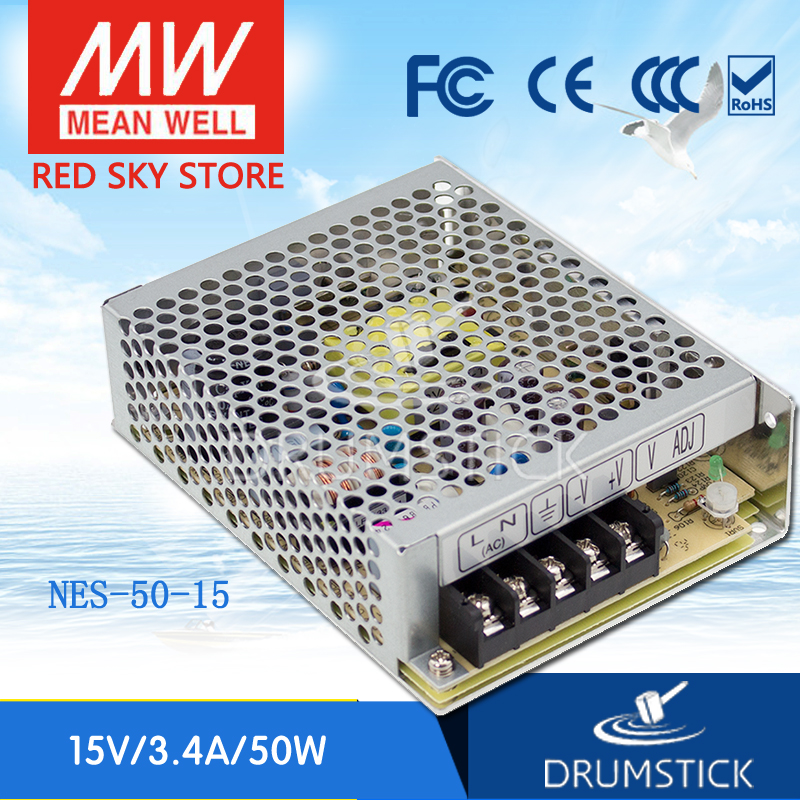 Best-selling MEAN WELL NES-50-15 15V 3.4A meanwell NES-50 15V 51W Single Output Switching Power Supply meanwell 12v 350w ul certificated nes series switching power supply 85 264v ac to 12v dc