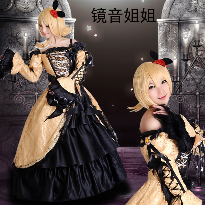 Anime Hatsune Miku VOCALOID Kagamine Rin Cosplay Costumes Women Lolita Cosplay Costume Satin Formal Dress Party Free Shipping цены