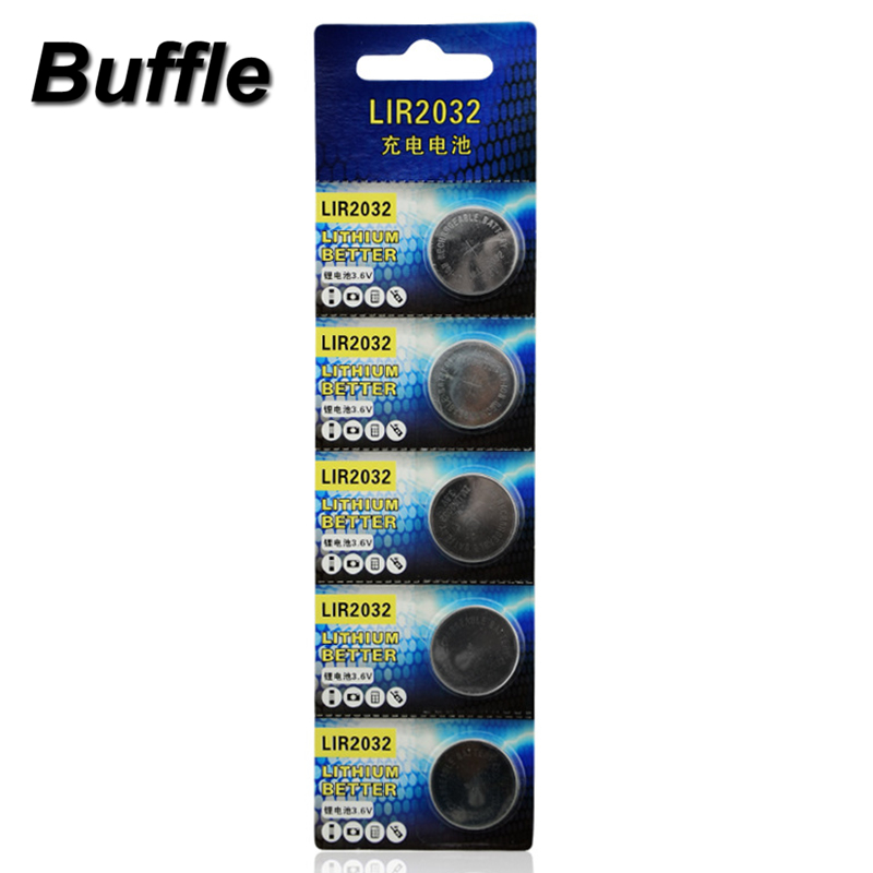 5x Buffle Lithium Li ion 40mAh 3 6V Rechargeable LIR2032 Button Cell Batteries Coin Battery Replace