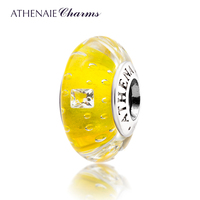 ATHENAIE Genuine Murano Glass 925 Silver Core Effervescence Clear Square CZ Charms Bead Fit All European