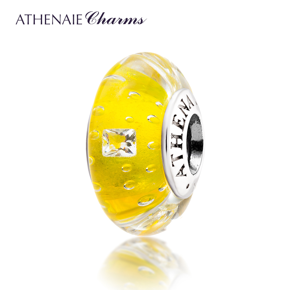 ATHENAIE Genuine Murano Glass 925 Silver Core Effervescence Clear <font><b>Square</b></font> CZ Charms Bead Color Yellow Fit All European Bracelets