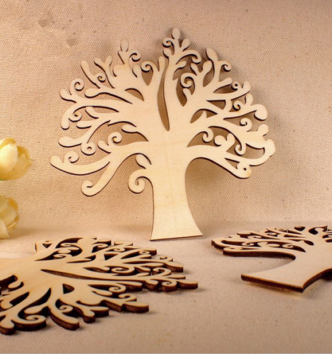 10pcs DIY Wooden Tree Household wall decorations Crafts Figurines ...
