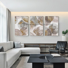 3 Pieces Circle Geometric Abstract Oil Painting On Canvas Beatiful Wall Art Cuadros Decoracion for Room Hotel Hall Decoration