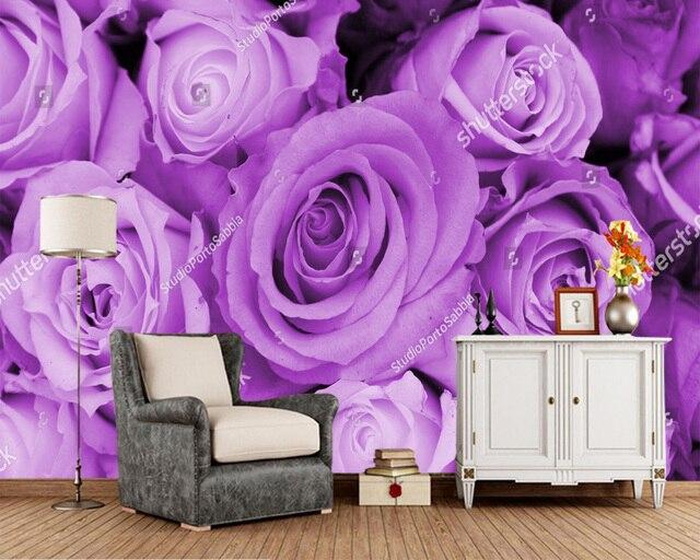 Behang Paars Slaapkamer : Custom bloemen behang paars rozen muurschildering gebruikt in de