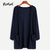 ROMWE Navy Basic Long Cardigan Women Open Front Solid Pockets Brief Sweater Fall 2017 Fashion Cocoon
