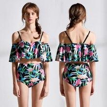 New Sexy Off Shoulder Bikini Women Lotus Ruffled Swimsuit Floral Print Bathing Suit S-XL Girl High Waist Swimwear Bikini Set цена в Москве и Питере