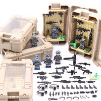 Original Box Legoing Military Display Box Case Ww2 Army Swat Soldier Minifigure Weapon Building Blocks Figures Bricks Toy Gift