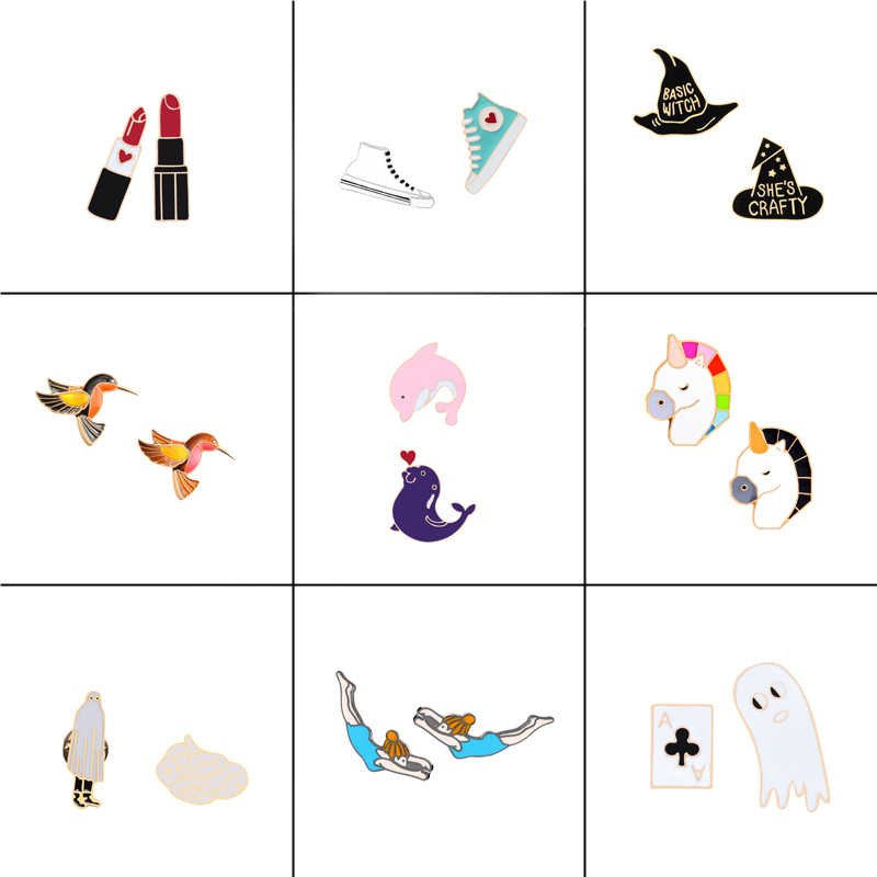 9 style 2pc/set Animal Bird Dolphin Horse Fashion Metal Pins Lipstick Shoes Hat Funny A Brooch Jewelry Sweater Badge Women Gift