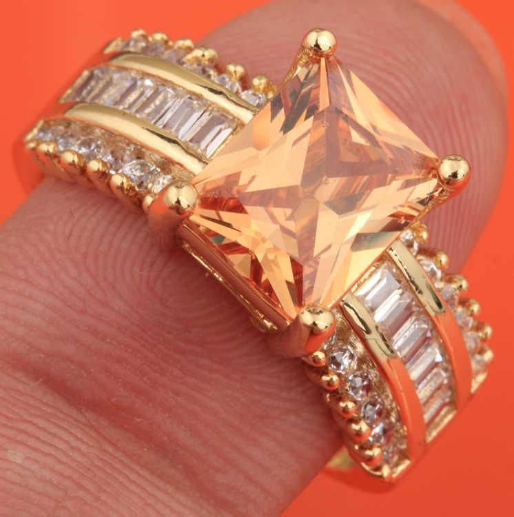 พราวแชมเปญอัญมณี Morganite เครื่องประดับ Gold Solitaire แหวนขนาด 6/7/8/9 S1876