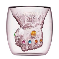 TikTok Creative double glass cup avenger with the shape of the cup 3D coffee milk water cup a collectible gift for friend