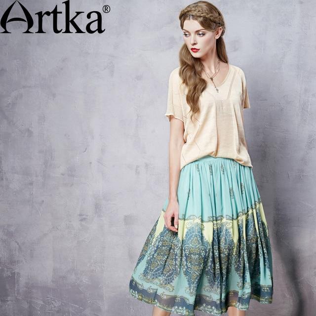 6b4fed8aa7b Artka Women s Summer New Byzantine Style High-end Chiffon Skirt Fashion  Mid-Calf Drapped