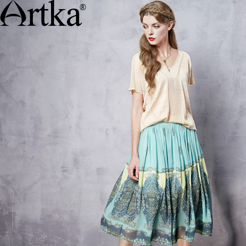 Artka Womens Summer New Byzantine Style High-end Chiffon Skirt Fashion Mid-Calf Drapped Wide Hem Skirt QA10960C