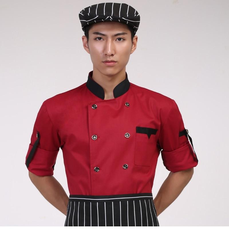 Chef do hotel Desgaste de Manga Comprida Outono e Inverno Roupas de Cozinha  do Restaurante Do Hotel Uniformes Preto e Branco para Homens e Mulheres edebc261c53